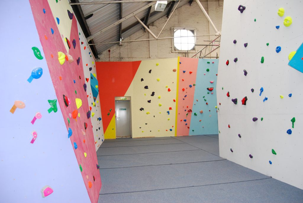 Slabby and and vertical climbing walls