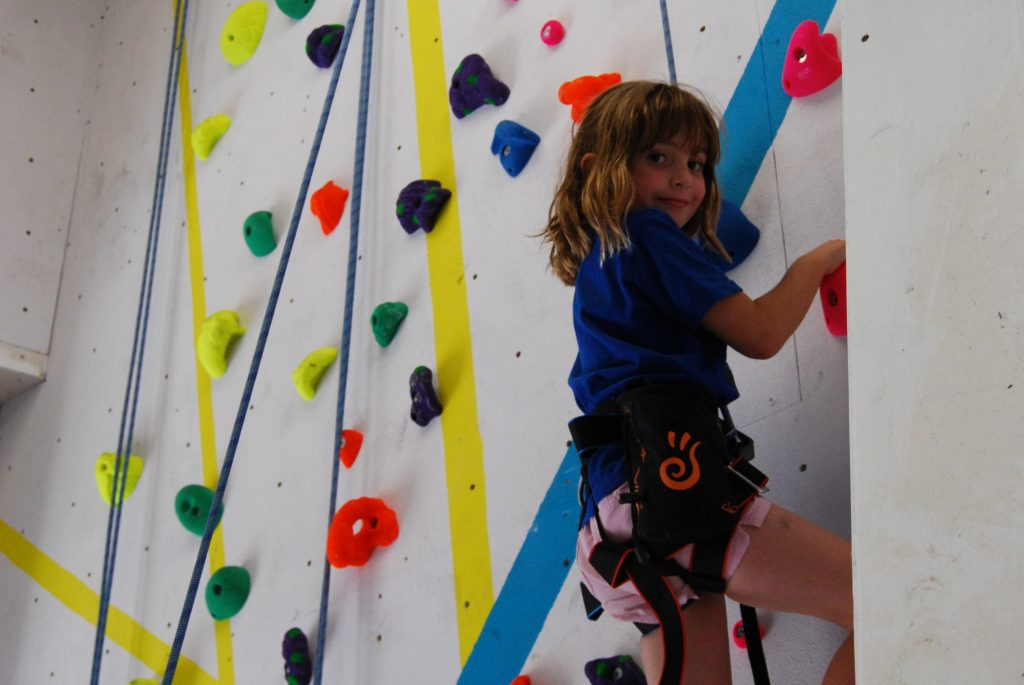 Child climbing on the roped wall