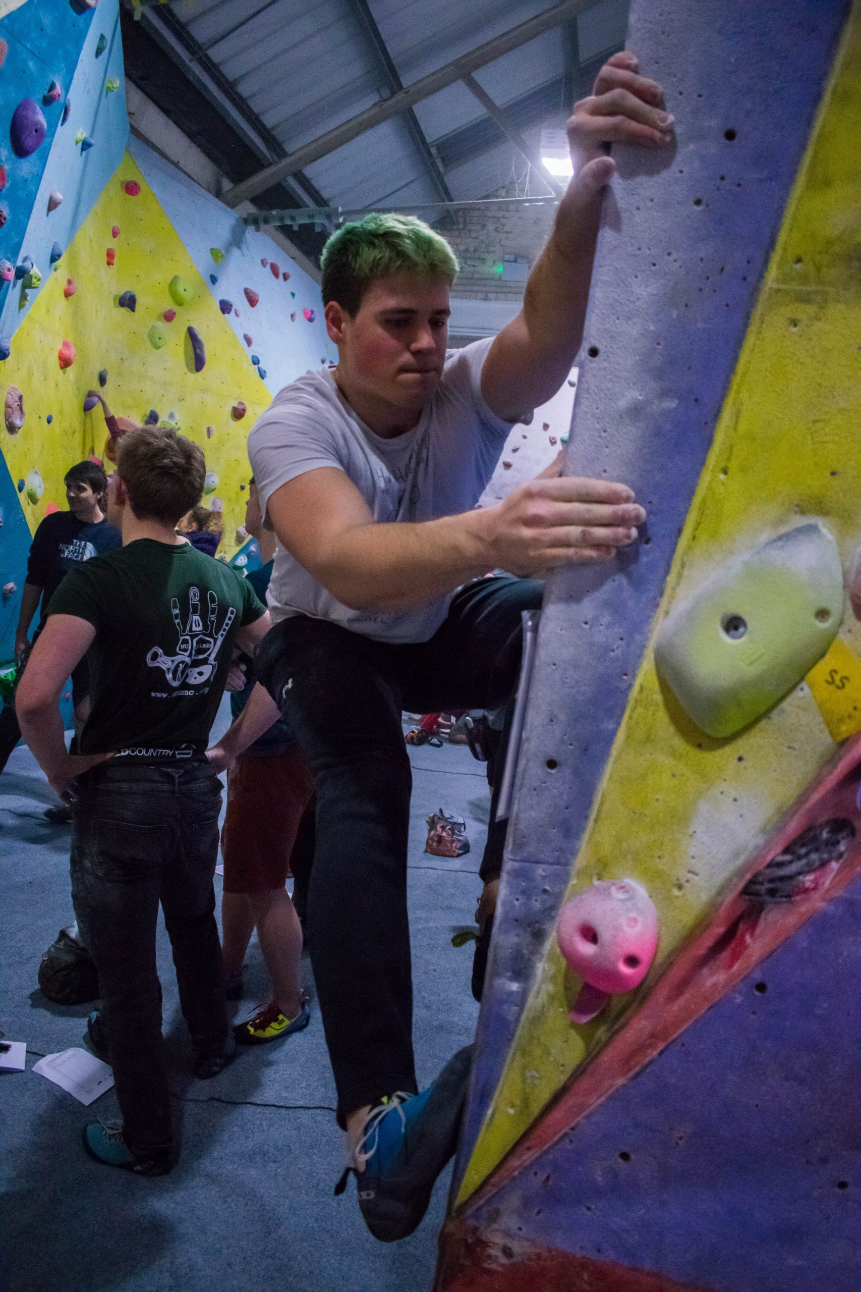 Climber on crescent arete